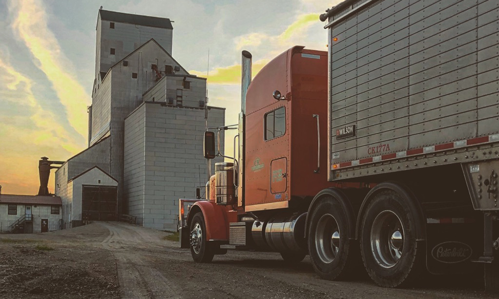 CK Transportation Agricultural Hauling Truck at Elevator